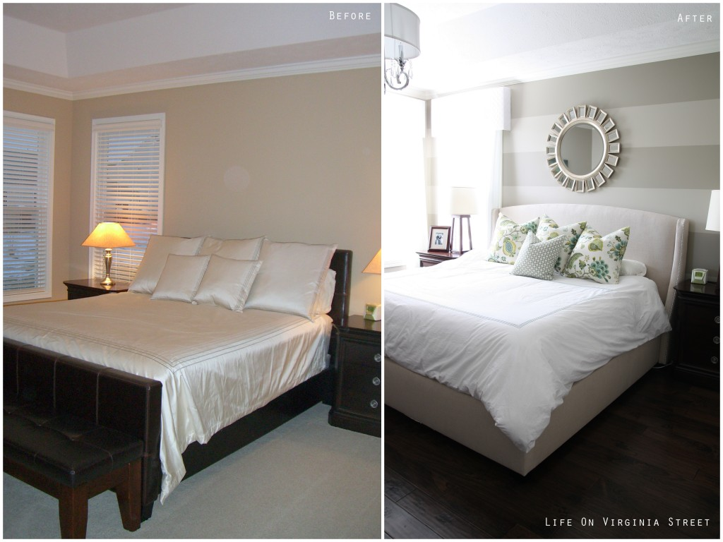 Master bedroom pillows in a beautiful before and after with striped walls.