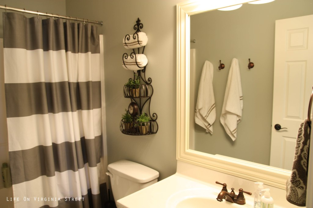 Restoration Hardware Silver Sage Paint with West Elm Gray striped shower curtain.
