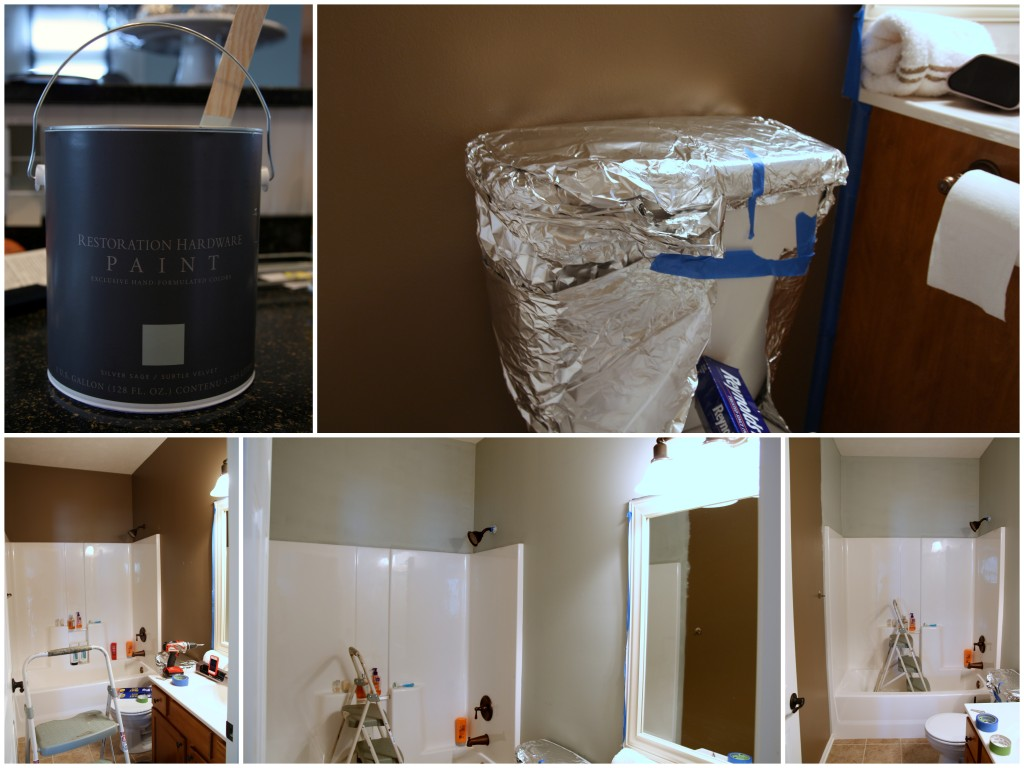 Paint can, protecting the toilet from paint, and taping the walls for preparation.