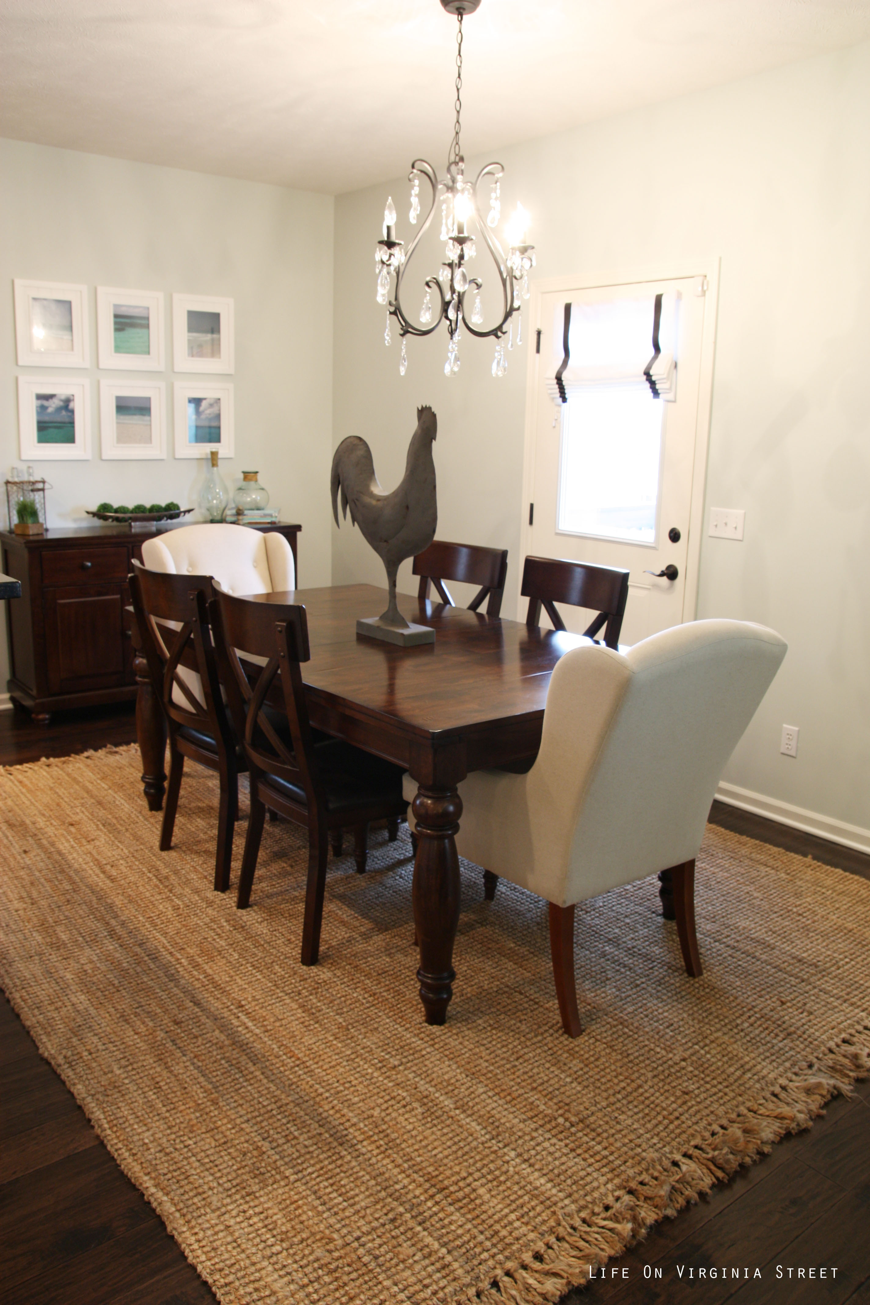 Captivating Dining Room With Jute Rug