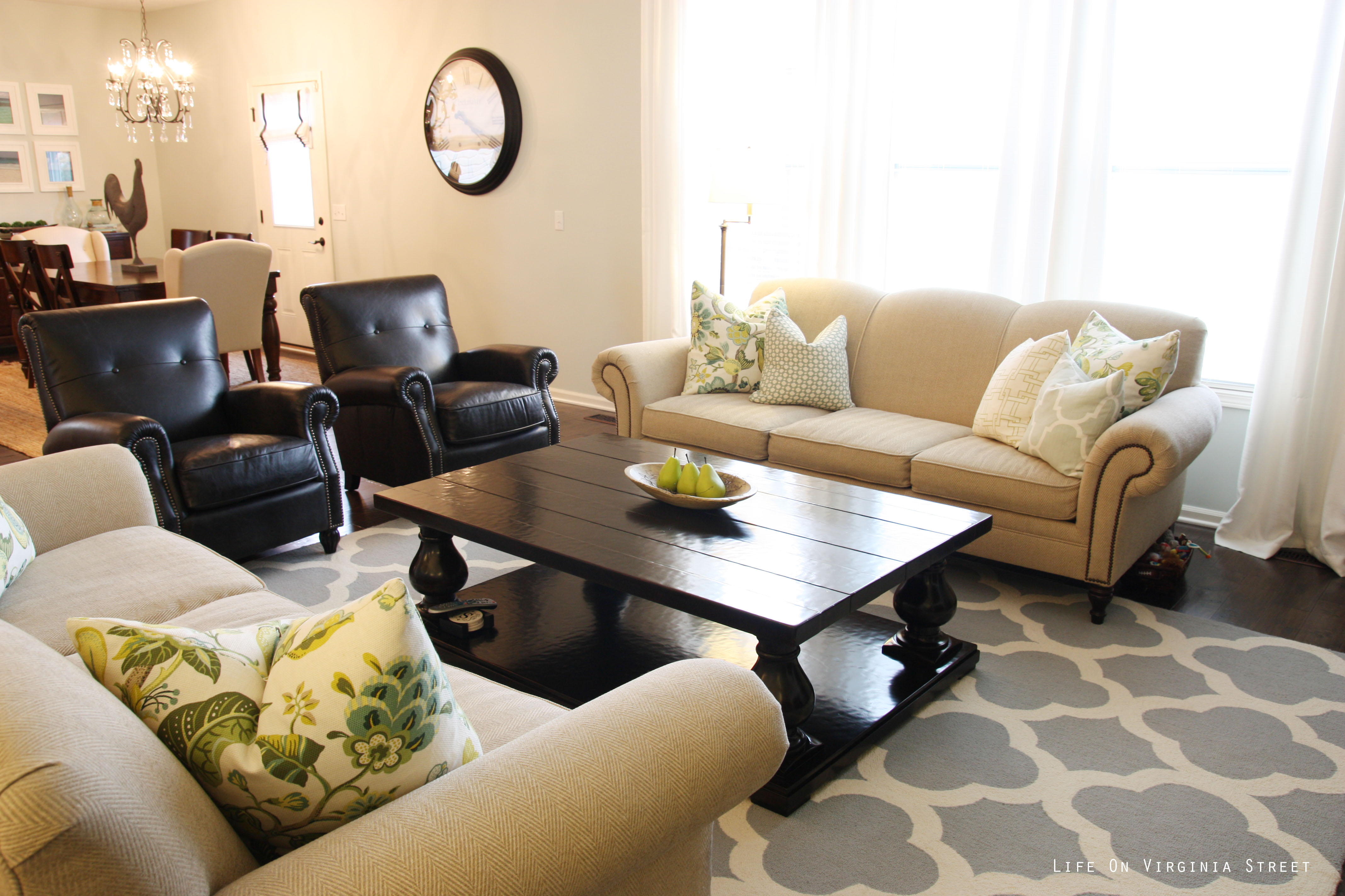 Living Room With Neutral Furniture And Blue Trellis Rug Part 50