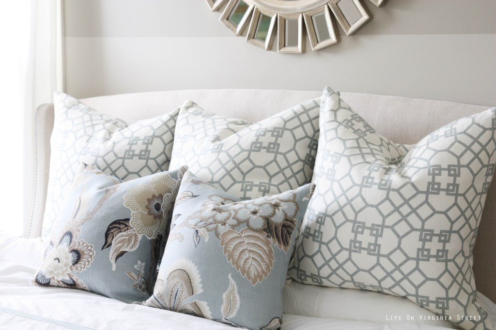 Master Bedroom Pillows with Schumacher HotHouse Flowers and Windsor Smith's Pelagos in Mist